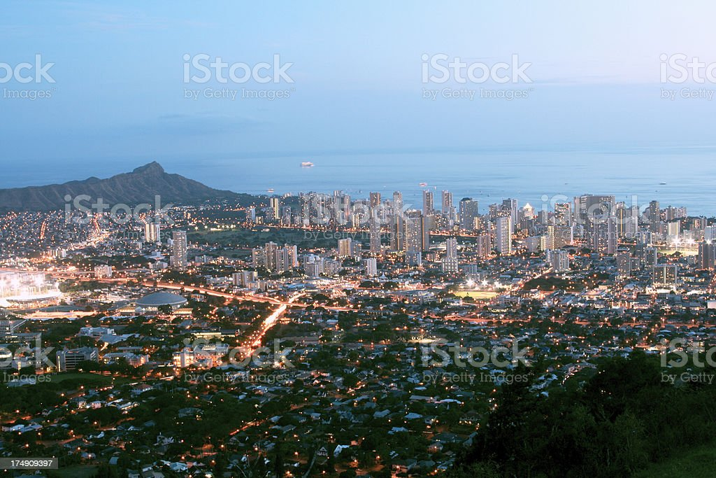 Waikiki at dusk royalty-free stock photo