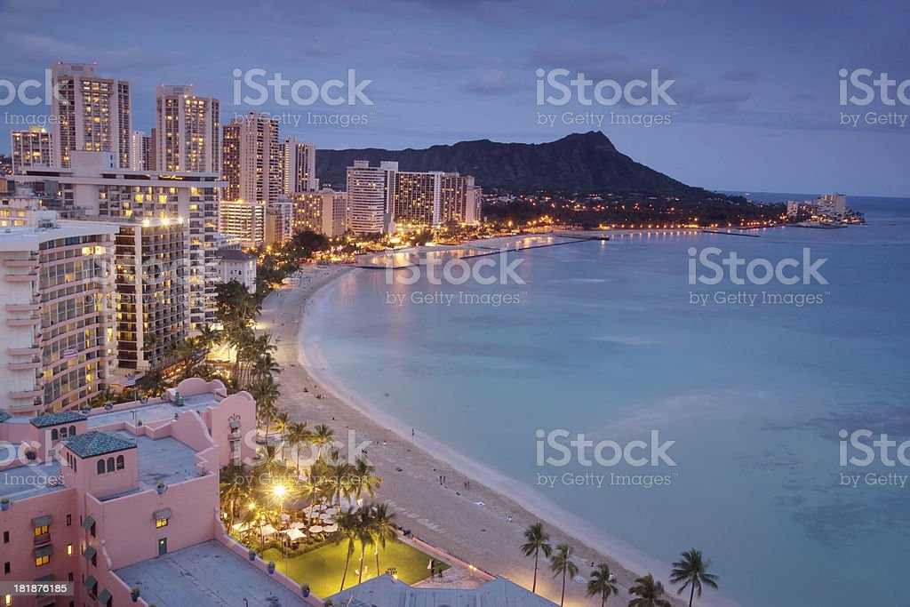 Waikiki at dusk stock photo