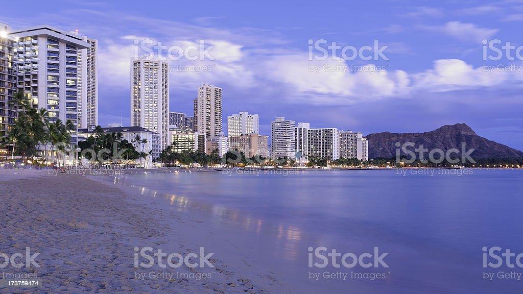 Waikiki at Night royalty-free stock photo