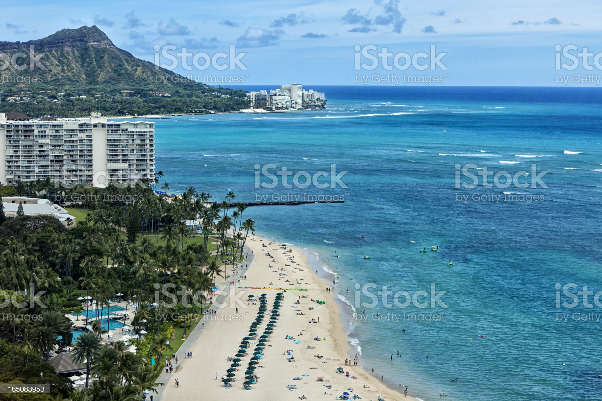 Waikiki Beach Aerial View royalty-free stock photo