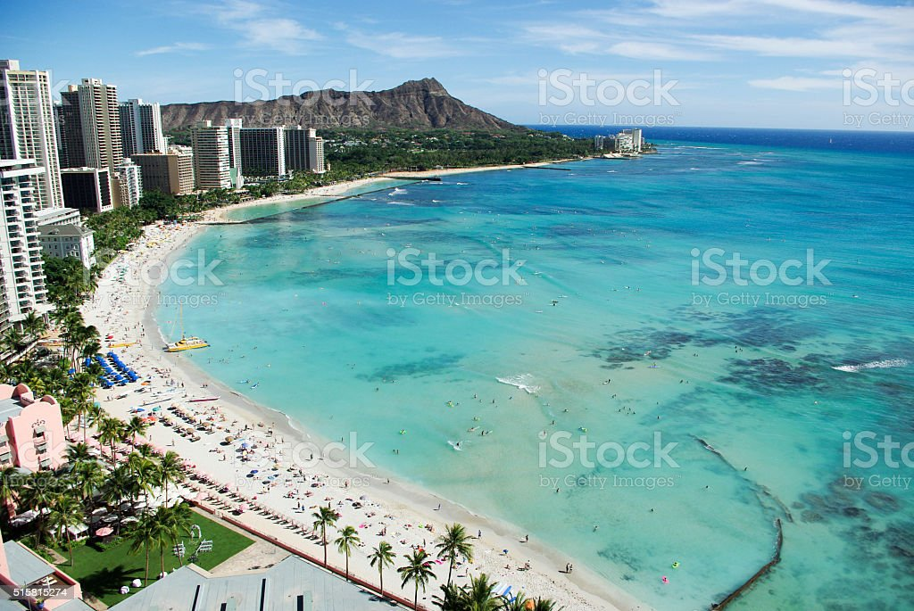 Waikiki Beach and Diamond Head, Honolulu stock photo