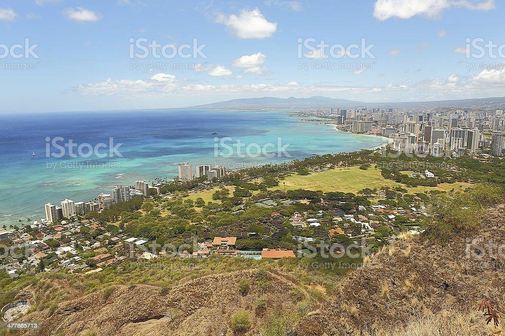 Waikiki Beach and Honolulu, Hawaii royalty-free stock photo