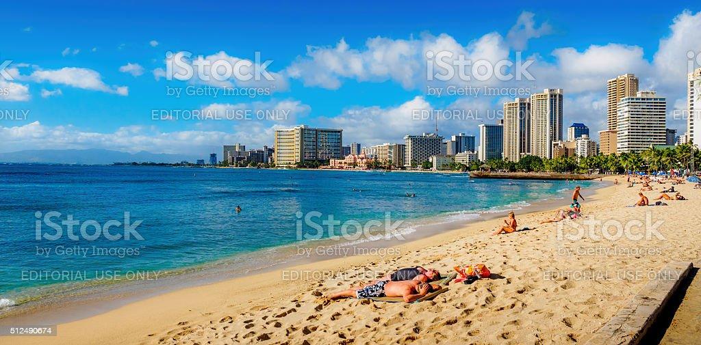 Waikiki Beach at midday stock photo