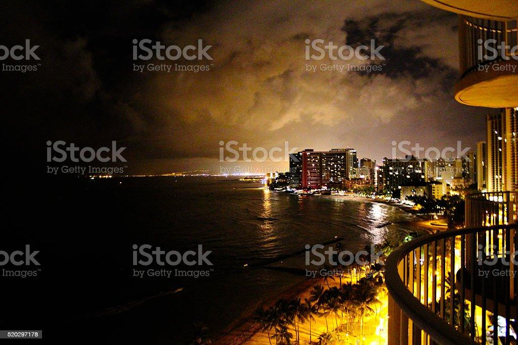 Waikiki Beach at Night royalty-free stock photo