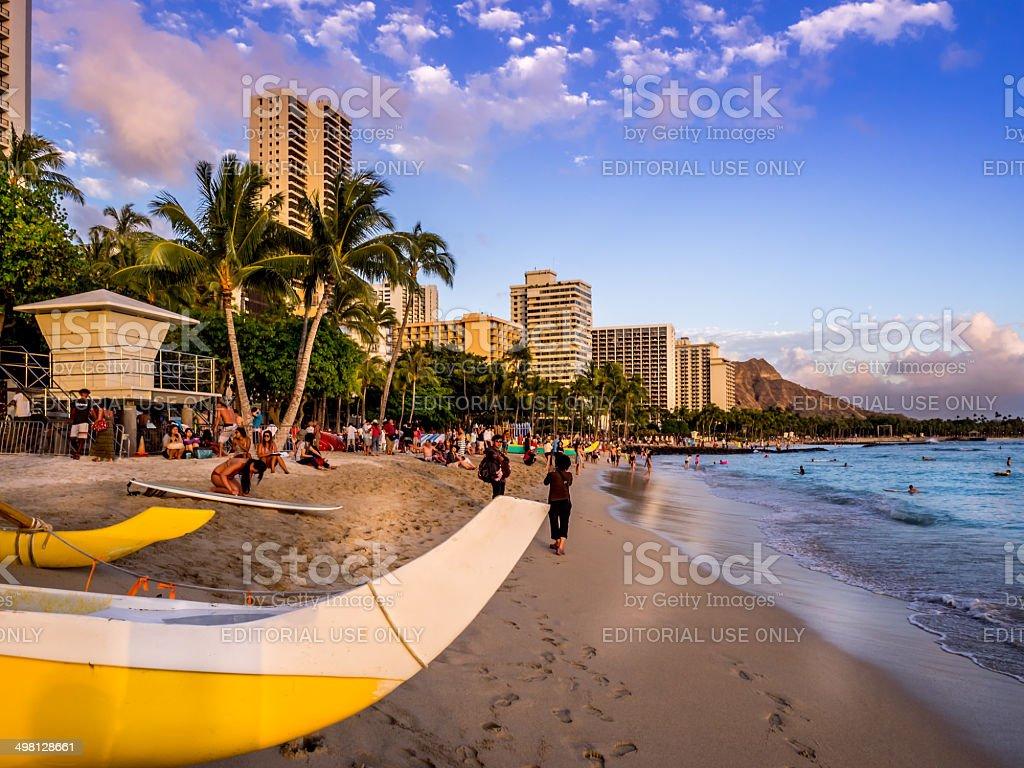 Waikiki beach at sunset stock photo