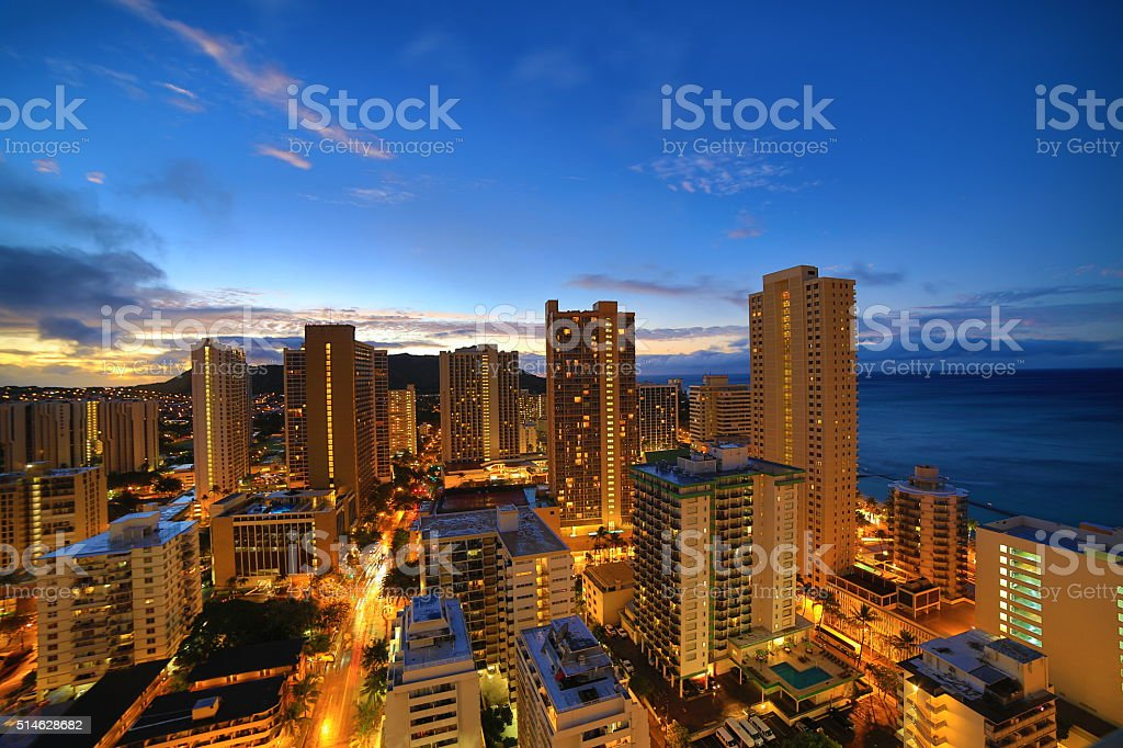 Waikiki Beach before sunrise stock photo
