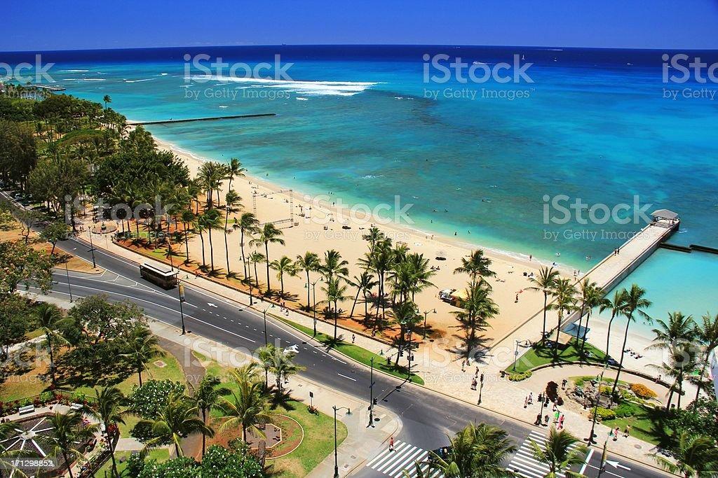 Waikiki beach Honolulu Hawaii Oahu Pacific ocean scenic royalty-free stock photo