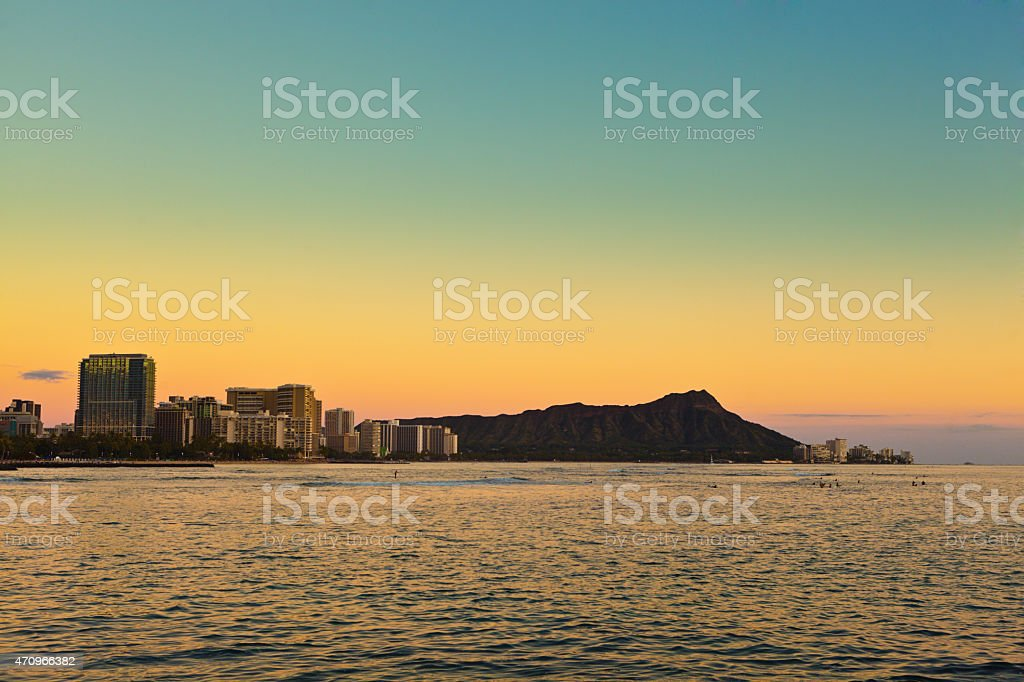 Waikiki Beach, Honolulu, Hawaii, Resorts and Hotels Skyline at Sunset stock photo