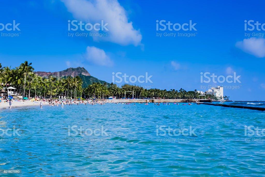 Waikiki beach in Hawaii stock photo