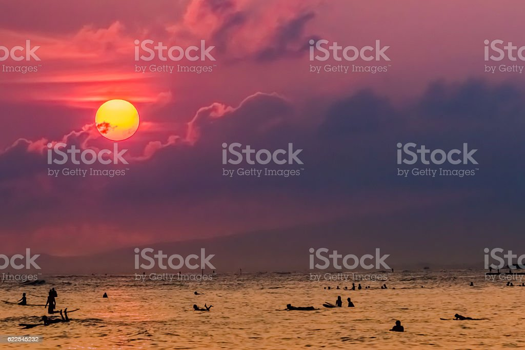 Waikiki beach in Hawaii stock photo