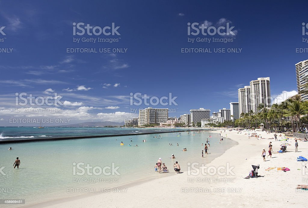 Waikiki Beach in Honolulu royalty-free stock photo