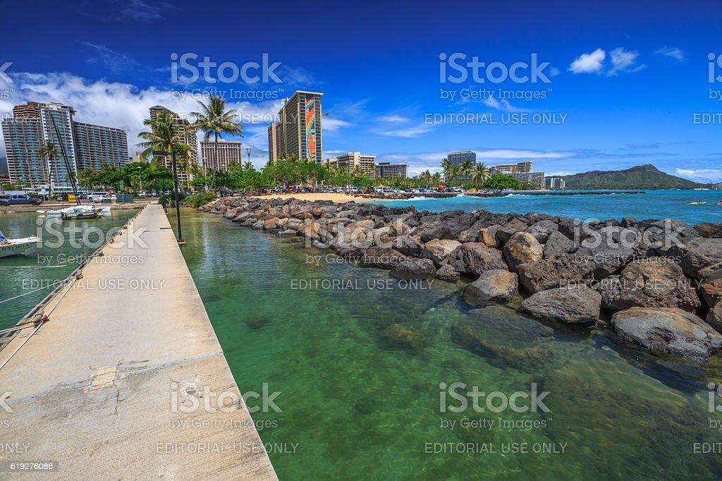 Waikiki Beach Skyline stock photo