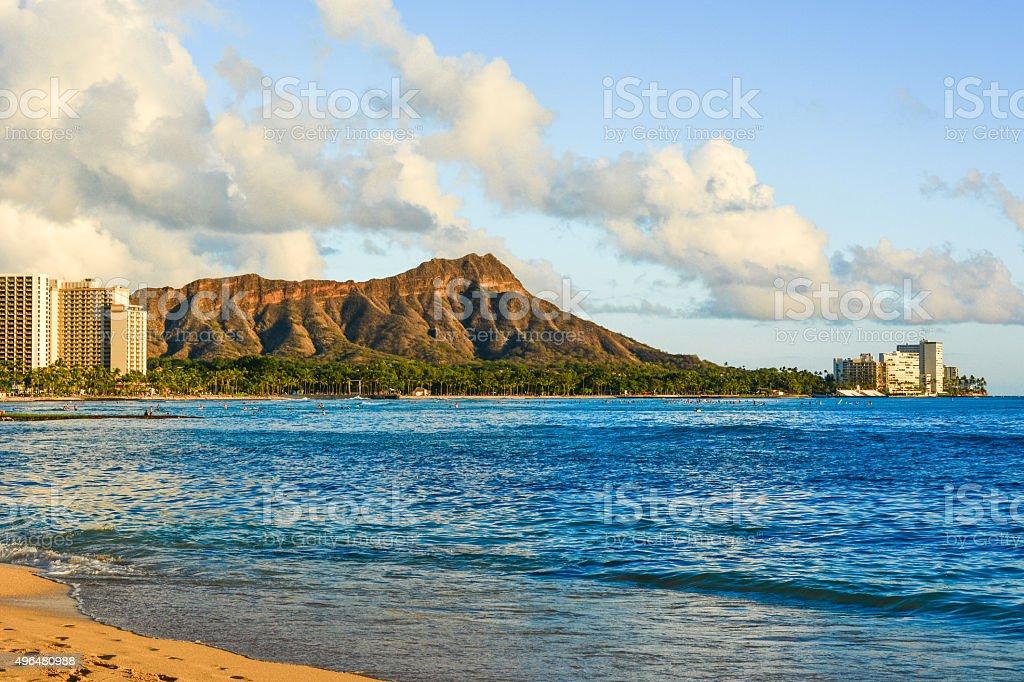 Waikiki Beach sunset stock photo