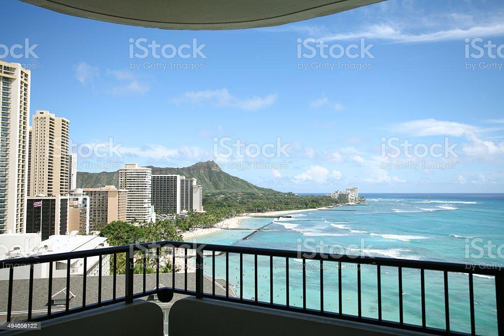 Waikiki Beach through the balcony stock photo