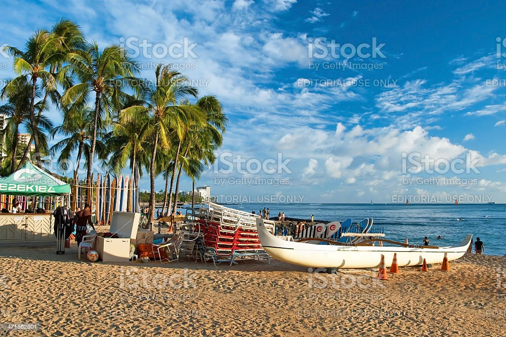 Waikiki beach with a surfs and azure water in Hawaii royalty-free stock photo
