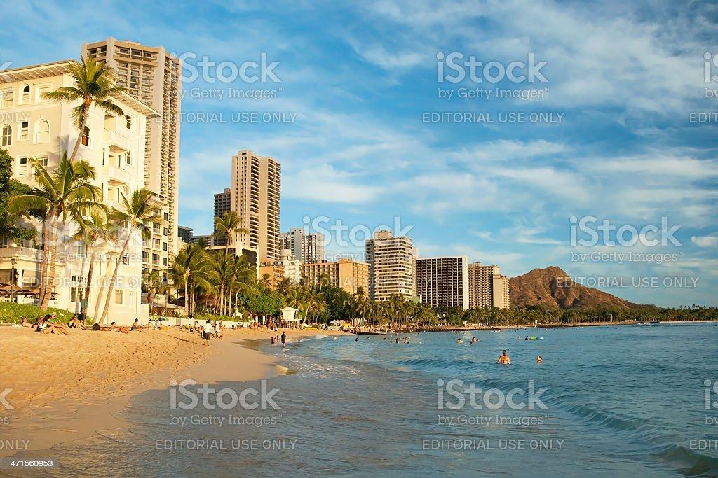 Waikiki beach with azure water in hawaii royalty-free stock photo