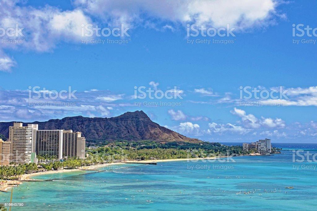 waikiki beach with Diamond head stock photo