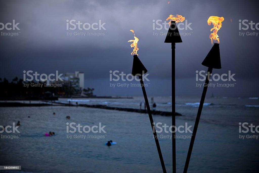 Waikiki Flaming Torch stock photo