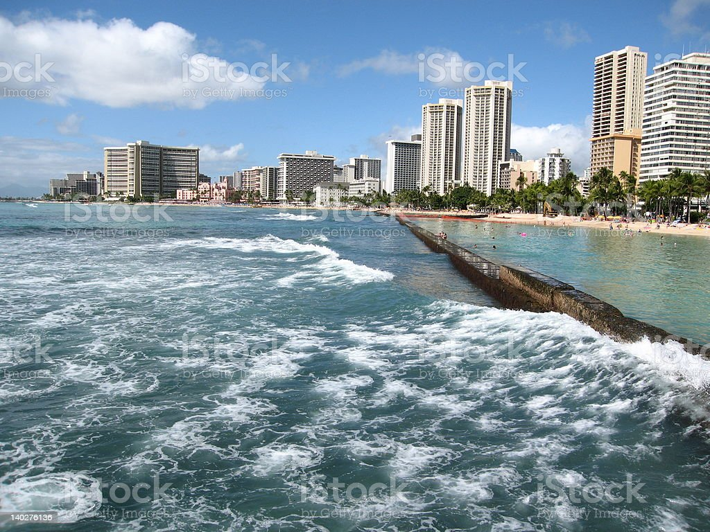 Waikiki from water perspective royalty-free stock photo