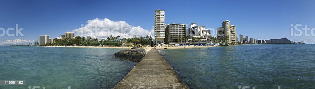 Waikiki Hawaii Entire Panoramic view from pier royalty-free stock photo