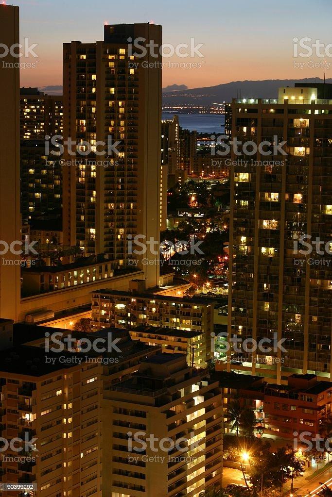 Waikiki Hotels at Sunset royalty-free stock photo