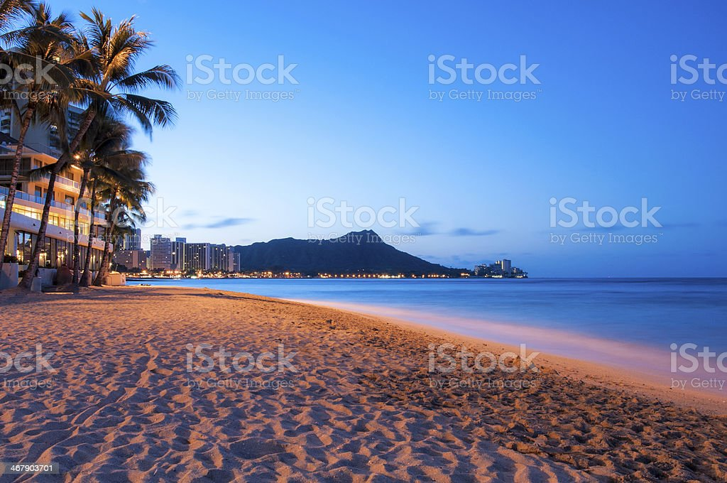 Waikiki sun rising over Diamond Head, Hawaii stock photo