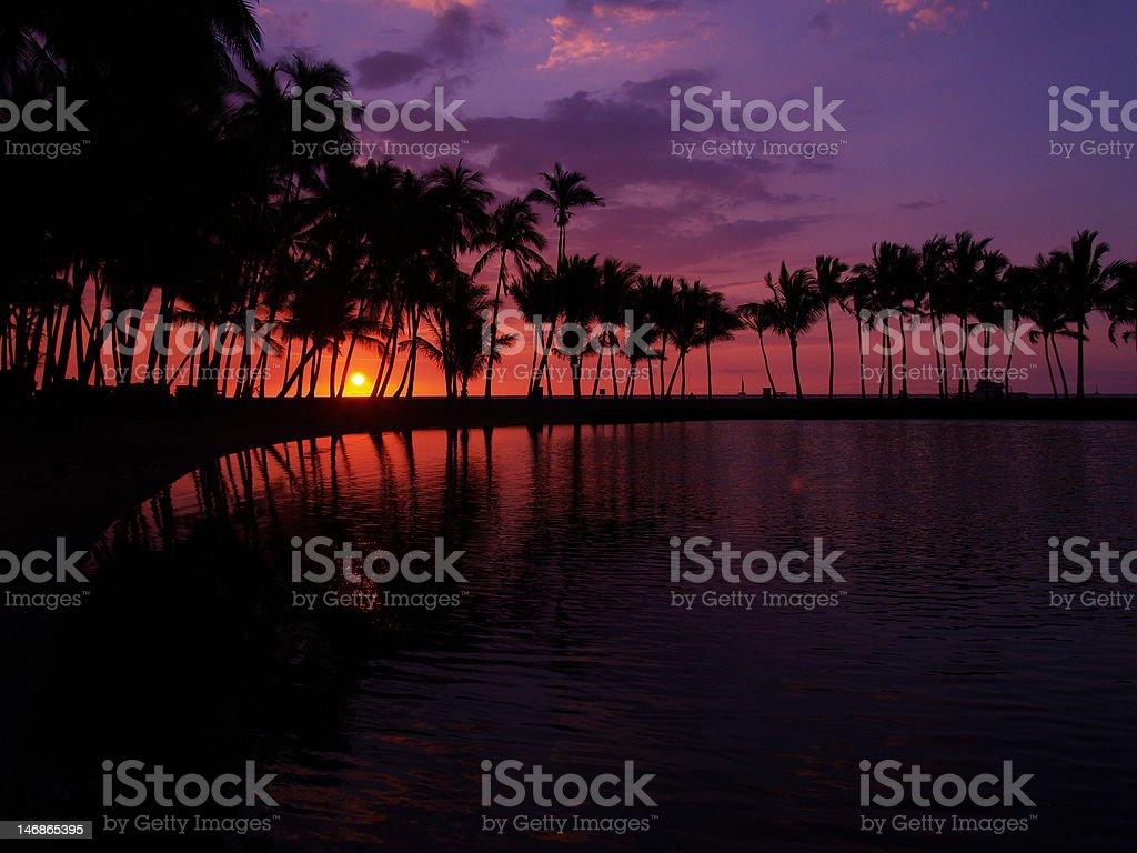Waikoloa sunset at Big Island,Hawaii stock photo