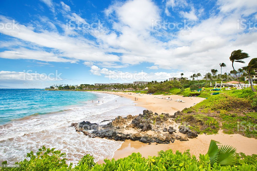 Wailea Beach on the Southwest Shore of Maui Hawaii stock photo