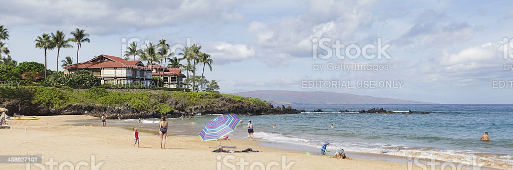 Wailea Beach panorama, South Maui, Hawaii stock photo