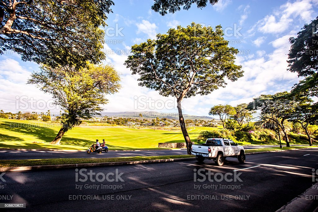 Wailea Beach road, Hawaii, USA stock photo