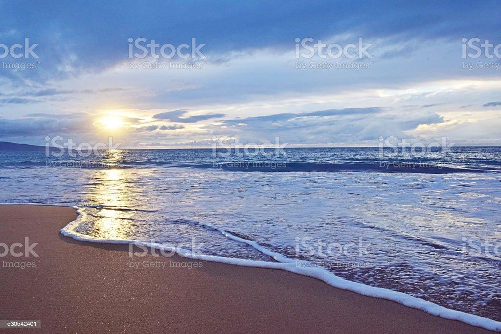 Wailea State Beach Sunset stock photo