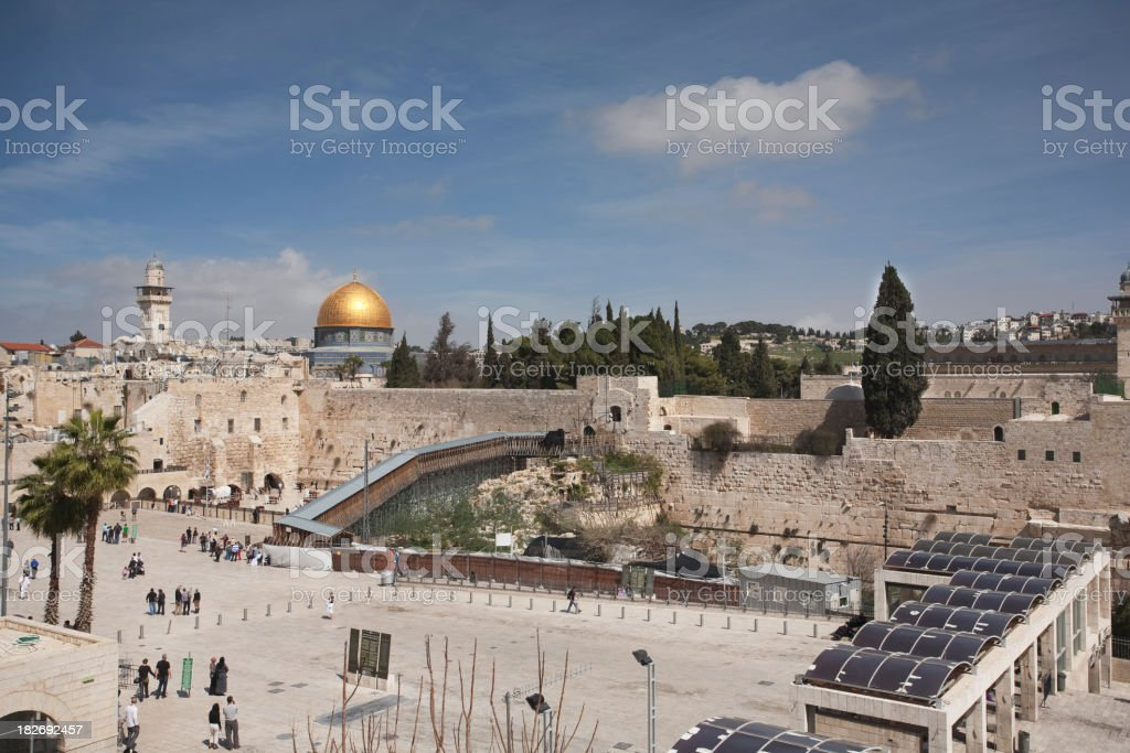 Wailing wall and Dome of the Rock, Jerusalem royalty-free stock photo