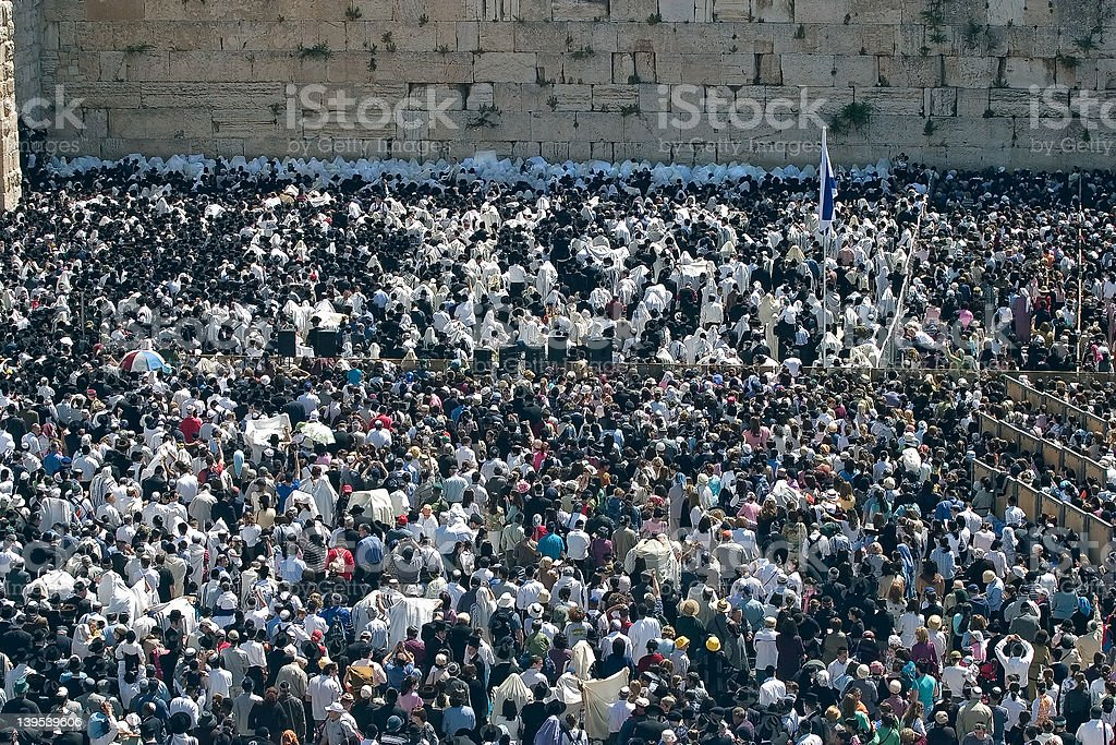 Wailing wall mass stock photo