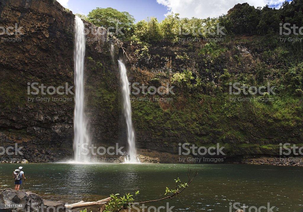 Wailua Falls from bottom royalty-free stock photo