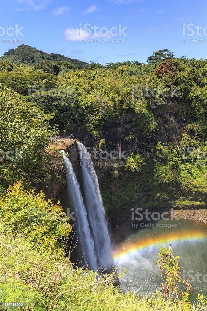 Wailua Falls from overlook (vert) stock photo