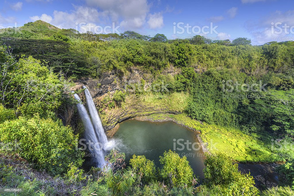 Wailua Falls Hawaiian Waterfall stock photo