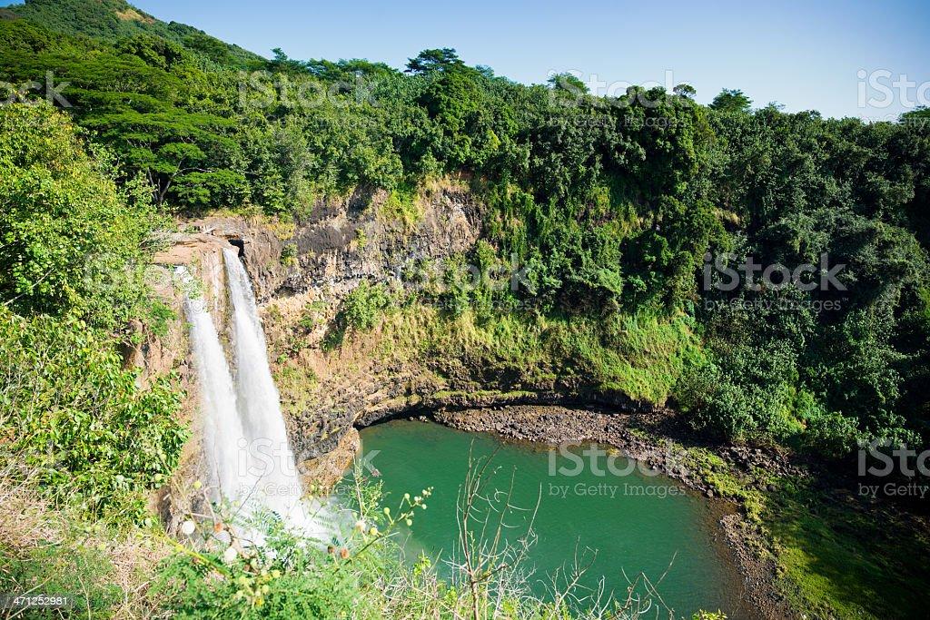 Wailua Falls Hawaiian Waterfall royalty-free stock photo