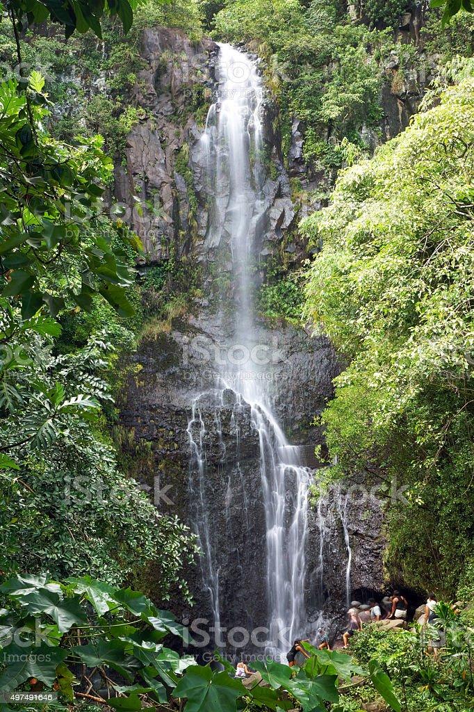Wailua Falls in Maui stock photo