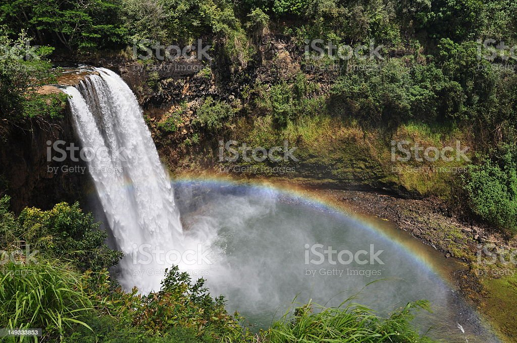 Wailua Falls, Kauai, Hawaii stock photo