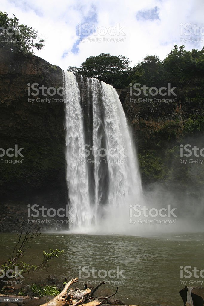 Wailua Falls Kauai Waterfall stock photo