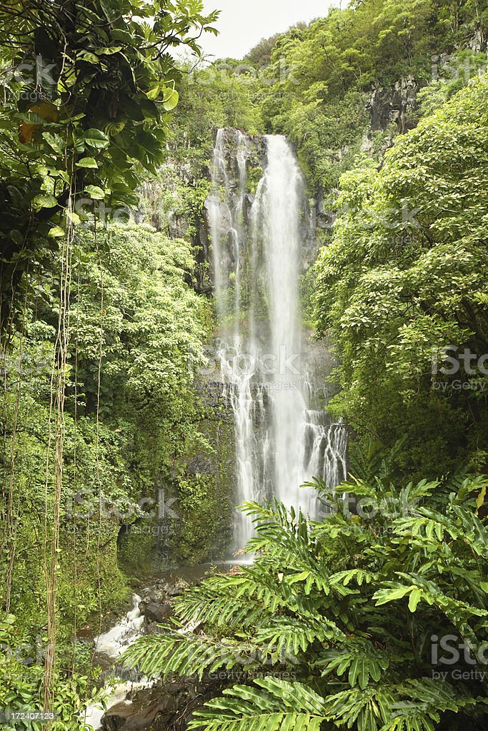 Wailua Falls Maui stock photo