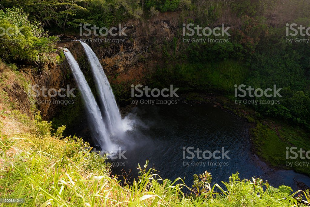 Wailua Falls on island of Kauai in Hawaii stock photo