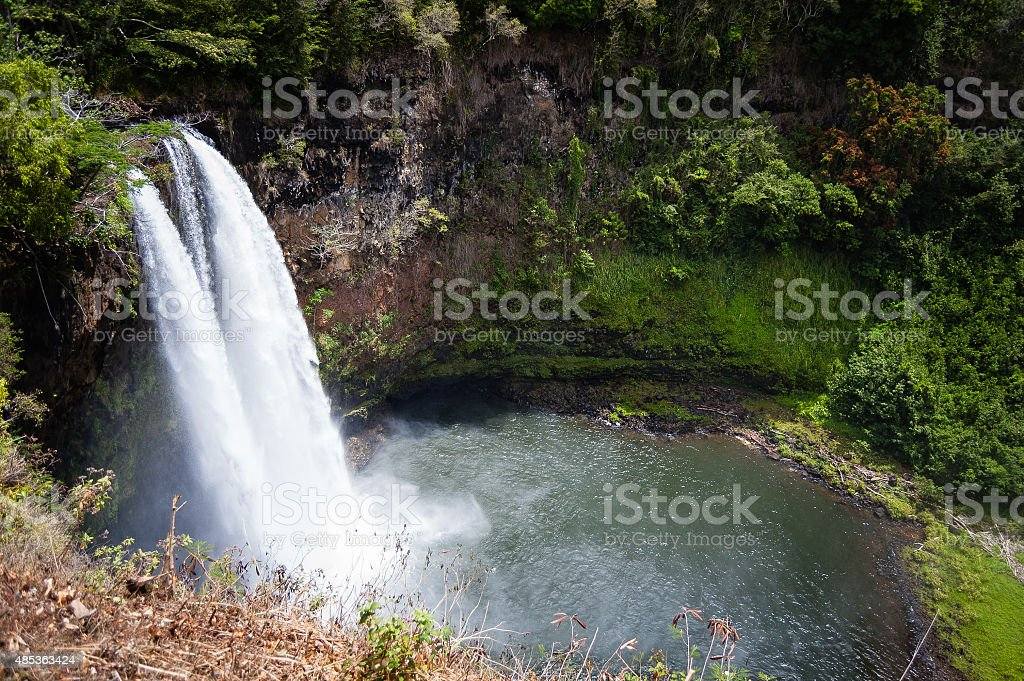 Wailua Falls on Kauai, Hawaii stock photo