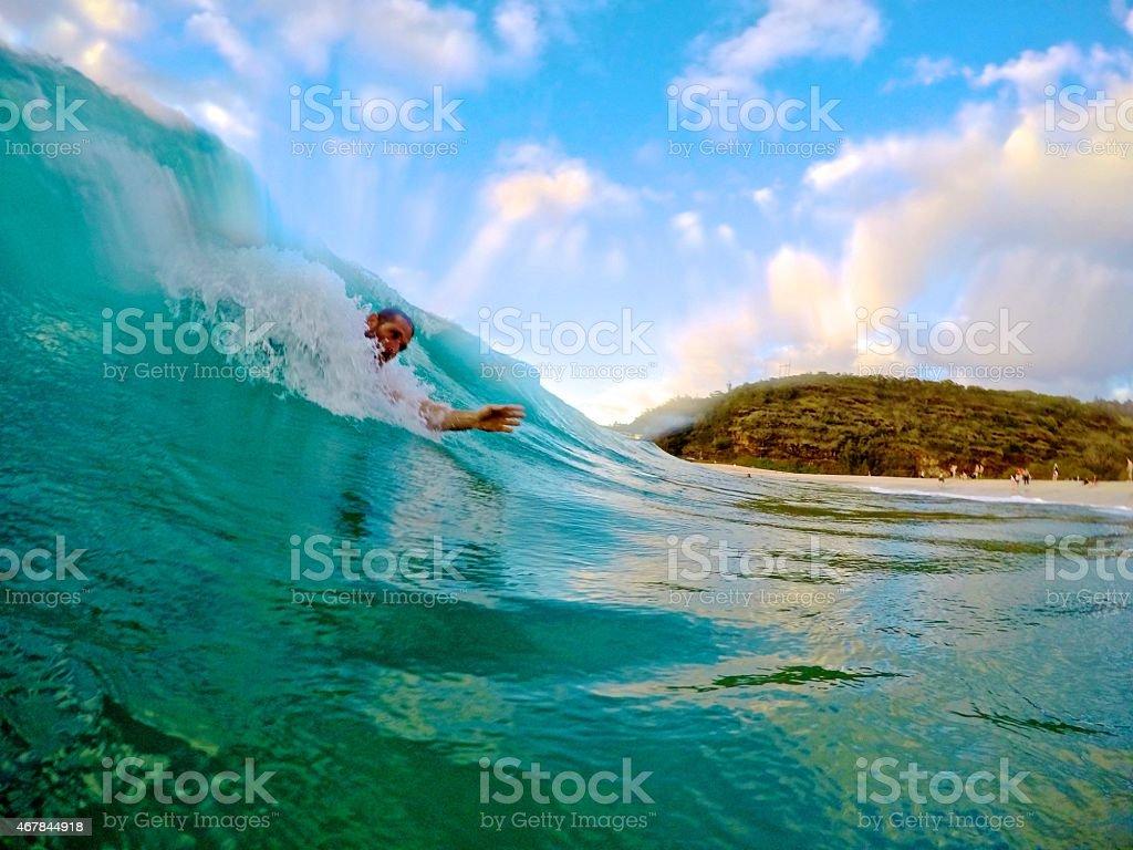 Waimea Bay Bodysurfing stock photo