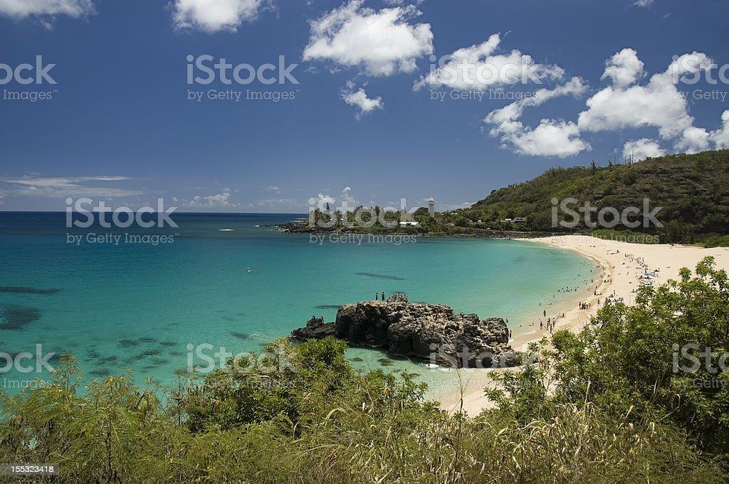 Waimea Beach in Oahu, Hawaii. stock photo