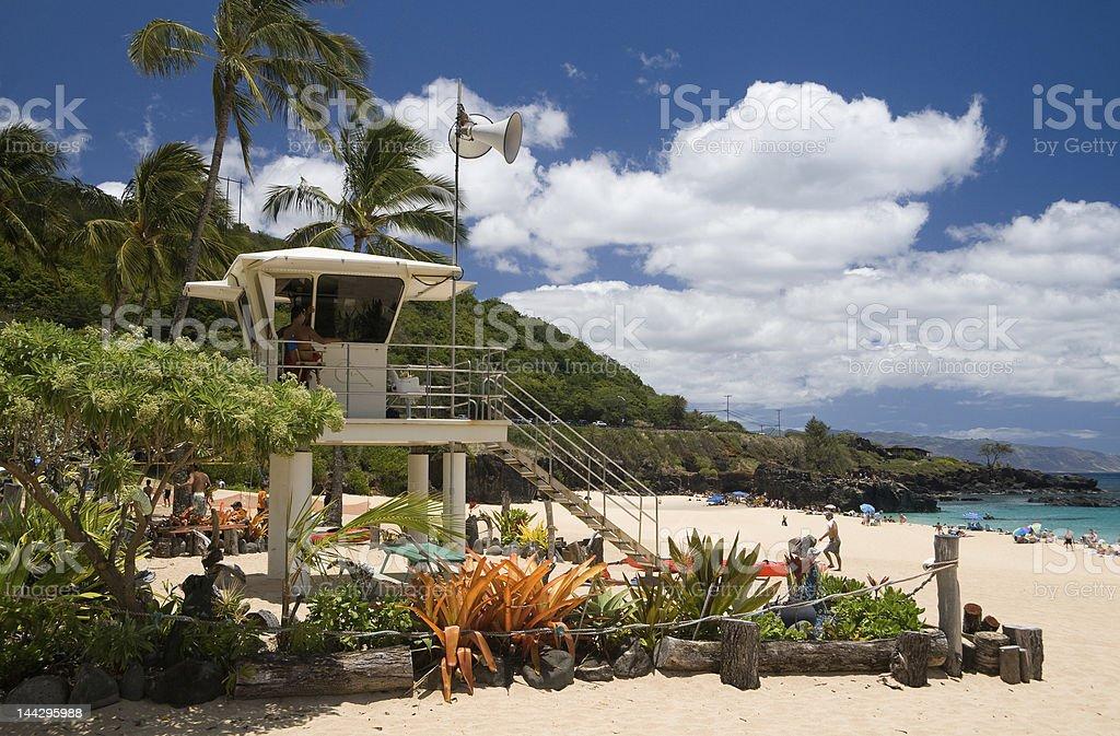 Waimea Beach Lifeguard Tower royalty-free stock photo