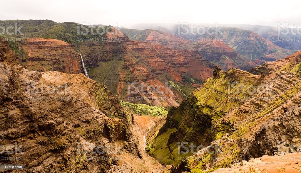 Waimea Canyon, Waipo'o Falls royalty-free stock photo