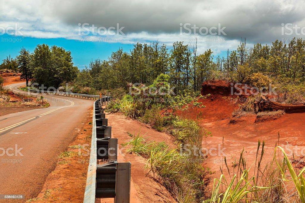 Waimea Canyon's road stock photo