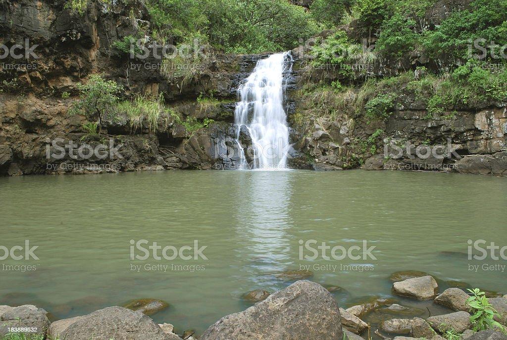 Waimea Falls in Oahu, Hawaii royalty-free stock photo
