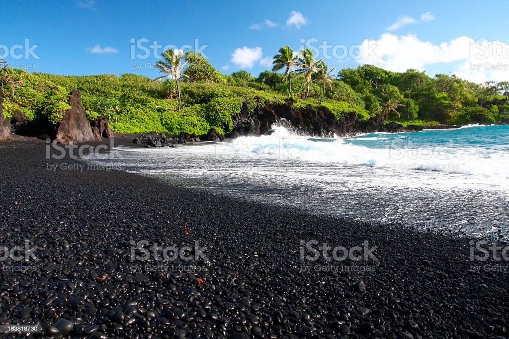 Wainapanapa black sand beach coastal on Maui Hawaii royalty-free stock photo